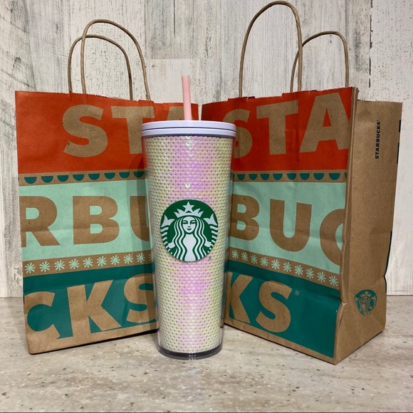 ✨Starbucks Pinkish White Sequin Cold Cup 24oz. NWT